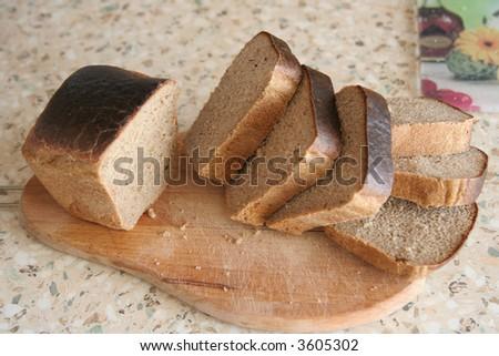 Russian black bread - stock photo