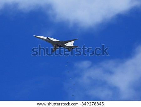 Russian bomber performs bombing during  exercises - stock photo