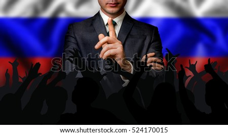 Russian candidate speaks to the people crowd - election in Russian Federation (Russia)