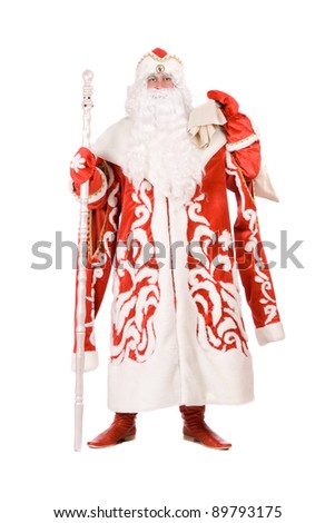 Russian Christmas character Ded Moroz (Father Frost). Isolated on white