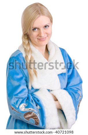 Russian Christmas character Snegurochka (Snow Maiden), isolated on white background