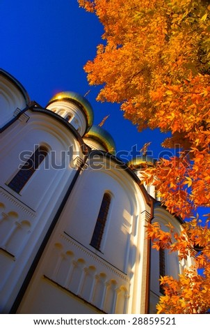 Russian church in the autumn - stock photo
