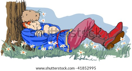 Russian Cossack sleeping under a tree, with the daisies.