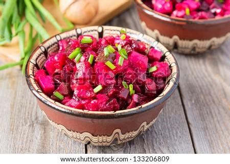Russian cuisine: beetroot salad - stock photo