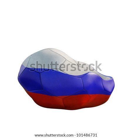 russian deflated soccer ball isolated on white - stock photo