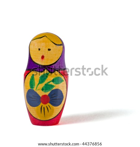 Russian doll isolated on white background. Clipping path included. - stock photo