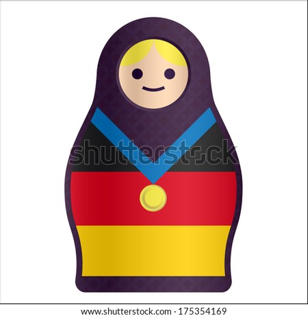 Russian Doll Matryoshka with German Flag and Gold Medal - stock photo