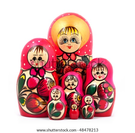 Russian Dolls. Isolated on a white background