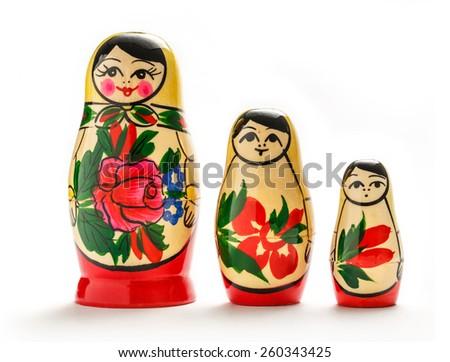 Russian dolls matreshka on the white background - stock photo
