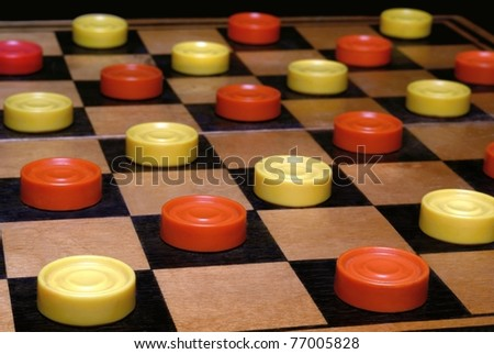Russian draughts. A board game - stock photo