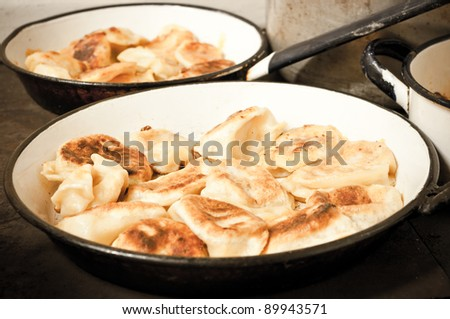 Russian dumplings on the pan