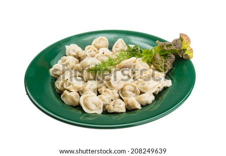 Russian dumplings with dill and pepper