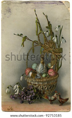 Russian easter stock images royalty free images vectors russian empire circa 1917 reproduction of antique postcard shows basket with easter gifts negle Images