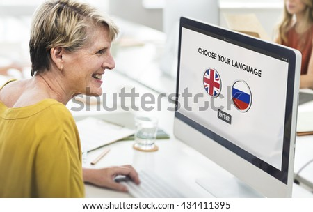 Russian English Communication Language Concept - stock photo