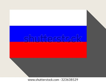Russian Federation flag in flat web design style. - stock photo