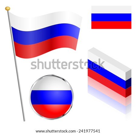 Russian Federation flag on a pole, badge and isometric designs illustration.  - stock photo
