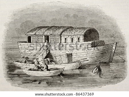 Russian fish merchants boat old illustration. By unidentified author, published on Magasin Pittoresque, Paris, 1843 - stock photo