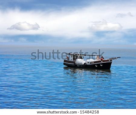Russian fishing vessel in the sea. - stock photo