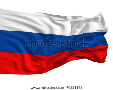 Russian flag, fluttering in the wind. Sewn from pieces of cloth, a very realistic detailed flags waving in the wind, with the texture of the material, isolated on a white background - stock photo
