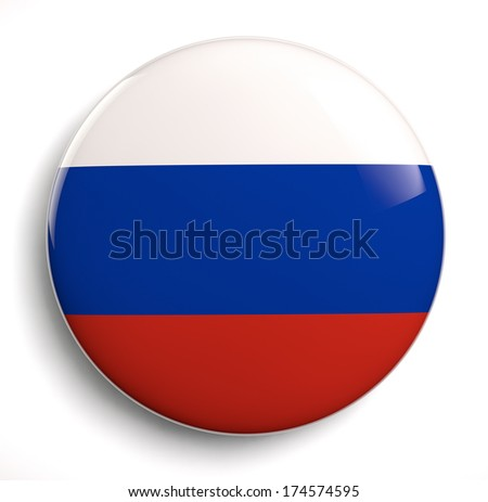 Russian flag icon isolated. Clipping path included. - stock photo