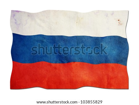 Russian Flag made of Paper - stock photo
