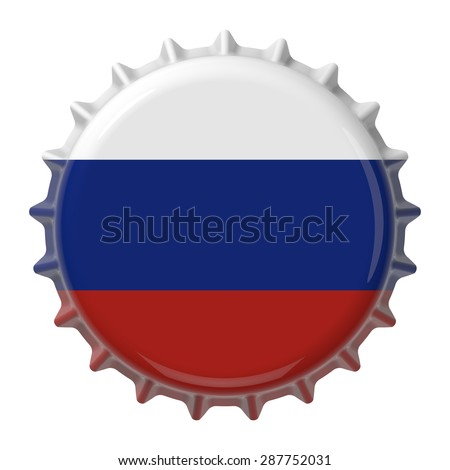 Russian flag on bottle cap. 3D rendering - stock photo
