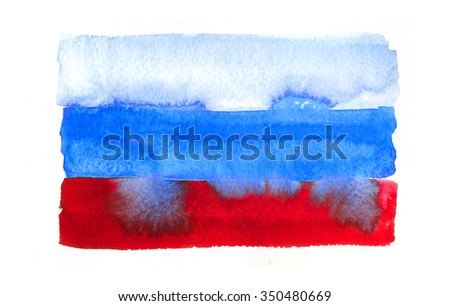 Russian flag painted with watercolors on white background - stock photo