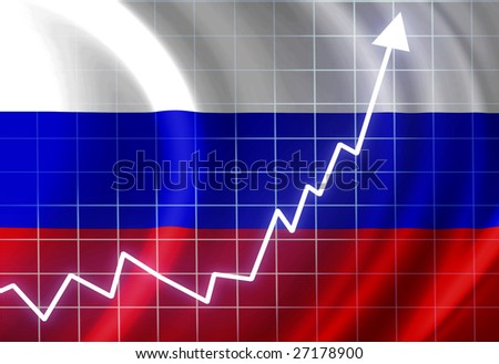 Russian flag waving in the wind: growth - stock photo