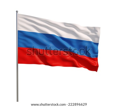 Russian flag waving in the wind, isolated on white background. - stock photo