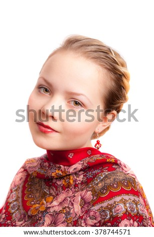 Russian girl wearied in in traditional  russian scarf  - stock photo