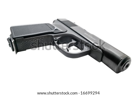 russian gun isolated on white. shallow dof
