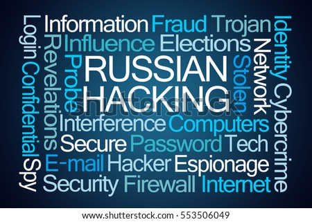 Russian Hacking Word Cloud on Blue Background