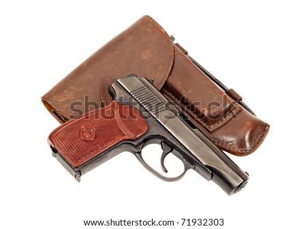 Russian handgun and holster on white background - stock photo