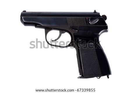 Russian  handgun PMM (Makarov) isolated on white - stock photo