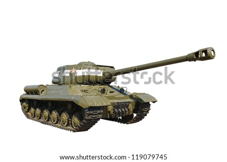 Russian heavy tank IS-2 isolated on white background