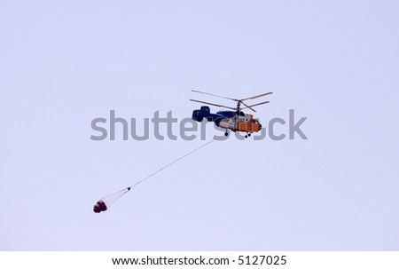 Russian  helicopter assisting in firefighting, Greece, August 2007 - stock photo