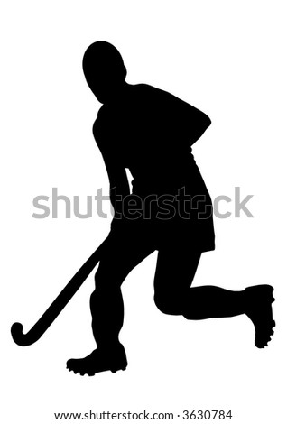 Russian Hockey Player Silhouette. Please, check out my portfolio for other silhouettes. - stock photo