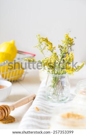 Russian honey cake Medovik in a glass jar - stock photo