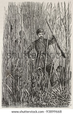 Russian hunter in Volga mouth cane thicket. Created by Moynet, published on Le Tour du Monde, Paris, 1867 - stock photo