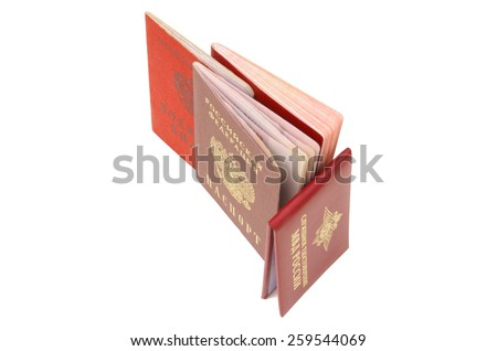 Russian identity card. Internal passport, passport, Identity card of the Russian Armed Forces & certificate of employment of Ministry of Internal Affairs of the Russian Federation. - stock photo