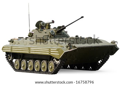Russian infantry light tank BMP-2 with clipping path - stock photo