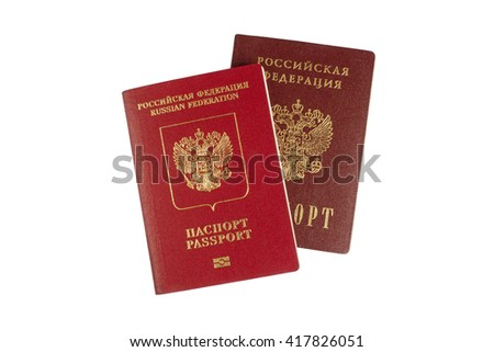 Russian internal and foreign passports isolated on white background - stock photo