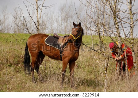 Russian knight and horse - stock photo