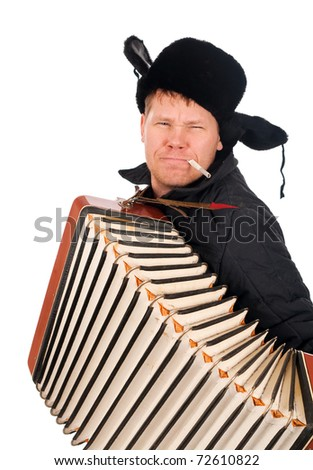 Russian man with accordion,redneck.isolated on white background - stock photo