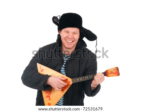 Russian man with balalaika,redneck.isolated on white background - stock photo