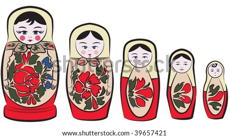 Russian Matreshka, traditional wooden nesting dolls. - stock photo