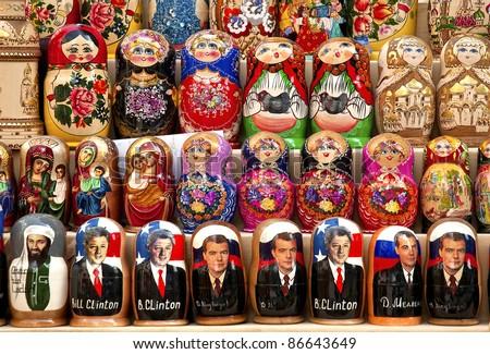 russian matrioshka dolls in baku azerbaijan market - stock photo