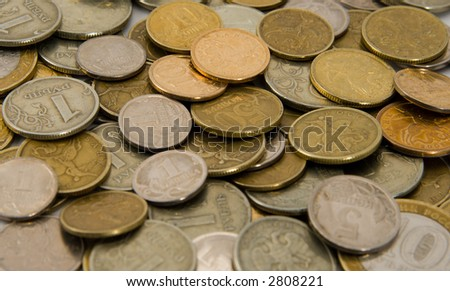 Russian metal coins. Texture. Background. - stock photo