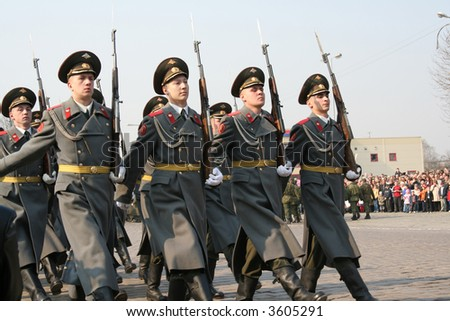 Russian military parade - stock photo