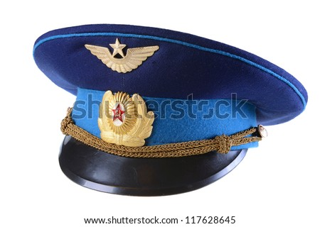 Russian military pilot hat isolated on white background